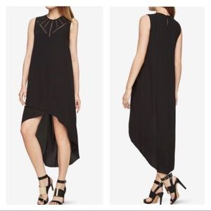 BCBG Embroidered Mesh Cut Out High Low Black Dress